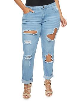 Plus Size VIP Ripped Boyfriend Jeans - 1870065301651