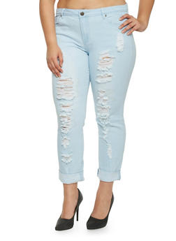 Plus Size VIP Distressed Roll Cuff Jeans - 1870065301746