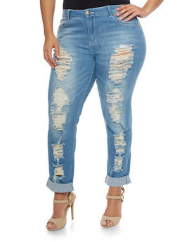 Plus Size VIP Distressed  Cropped Jeans - 1870065301766