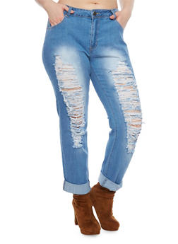 Plus Size VIP Destroyed Jeans with Rolled Cuffs - 1870065301773