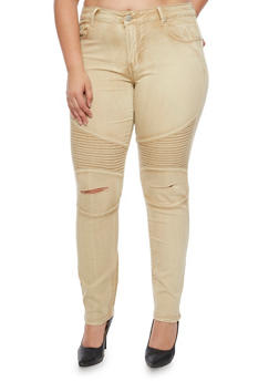 Plus Size VIP Slit Knee Moto Jeans - 1870065301782