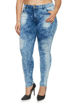 Plus Size VIP Acid Wash Jeans - 1870065301798