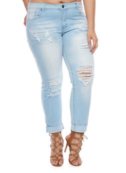 Plus Size VIP Destroyed Denim Straight Leg Jeans - 1870065301817