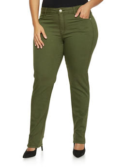 Plus Size Soft Knit VIP Jeggings - OLIVE - 1870065301821