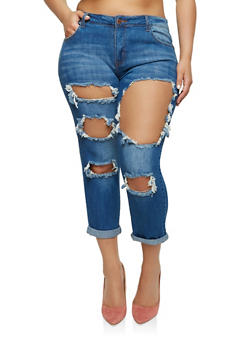 Plus Size Ripped Jeans - 1870065301904