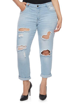 Plus Size VIP Ripped Skinny Jeans with Rolled Cuffs - 1870065302651