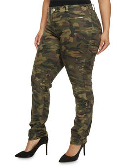 Plus Size VIP Camouflage Moto Jeans - 1870065302710