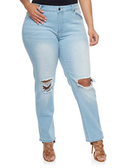 Plus Size Light Wash Ripped Knee Jeans - 1870065302850