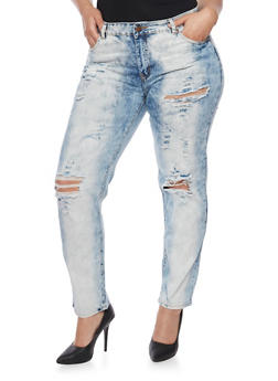 Plus Size VIP Distressed Cloud Wash Denim Jeans - 1870065302857