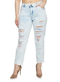 Plus Size VIP Destroyed Acid Wash Jeans - 1870065302883