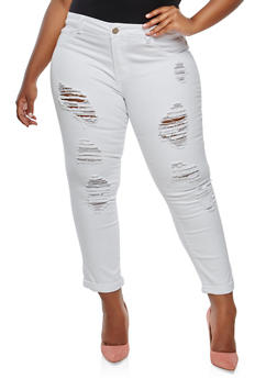 Plus Size VIP Destroyed Jeans - 1870065302891