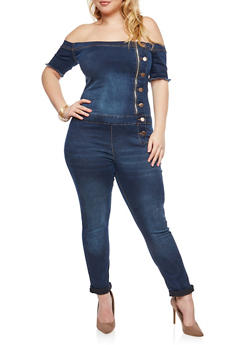 Plus Size Off the Shoulder Denim Jumpsuit - 1870065302953