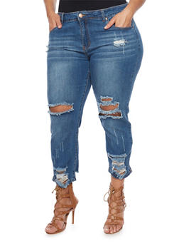Plus Size VIP Distressed Straight Leg Jeans - 1870065305884