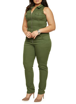 Plus Size VIP Jeans Jumpsuit with Zip Front - 1870065306652