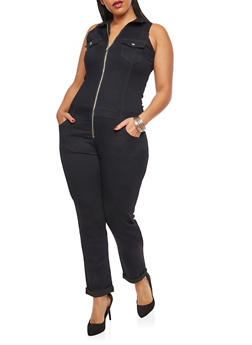 Plus Size VIP Zip Front Jumpsuit - BLACK - 1870065306653