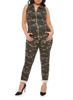 Plus Size VIP Zip Front Jumpsuit - CAMOUFLAGE - 1870065306653