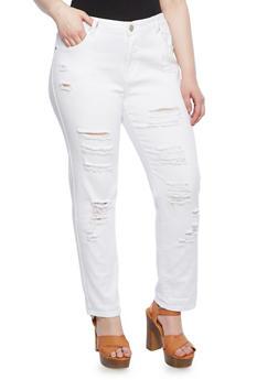 Plus Size VIP Slashed Straight Leg Jeans With High Rise Waist,WHITE,medium