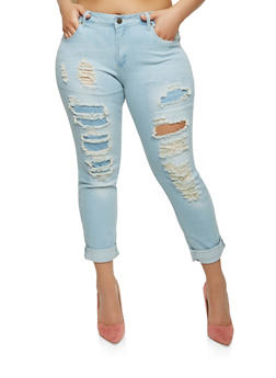 Plus Size VIP Destroyed Patch and Repair Jeans - 1870065307140