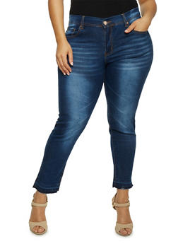 Plus Size VIP Skinny Jeans with Raw Cut Hem - 1870065307768