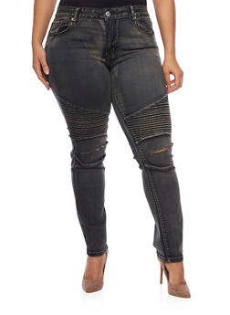 Plus Size Moto Jeans with Slash Cut Knees - 1870065307823