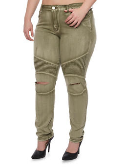 Plus Size VIP Moto Jeans with Slashed Knees - 1870065307823