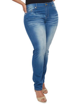 Plus Size VIP Whiskered Skinny Jeans - 1870065307917