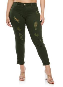 Plus Size VIP Distressed Skinny Jeans - 1870065307919