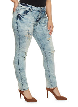 Plus Size VIP Distressed Acid Wash Jeans - 1870065307972