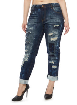 Plus Size VIP Jeans with Distressing Throughout - 1870065308015