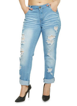 Plus Size VIP Distressed Skinny Jeans - 1870065308093