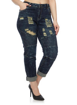 Plus Size VIP Jeans with Moto Paneling and Distressing - 1870065308126