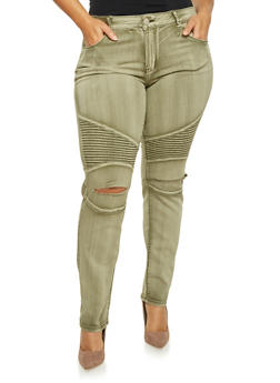 Plus Size Distressed Moto Jeans in Skinny Fit - 1870065308230