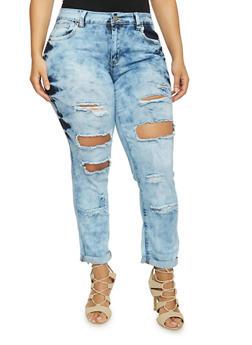 Plus Size VIP Acid Wash Destroyed Jeans - 1870065308338