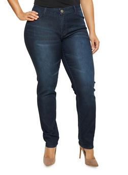 Plus Size Light Whiskering Stretch Jeans - 1870065308350