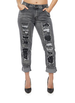Plus Size VIP Jeans with Distressed Front - 1870065308353