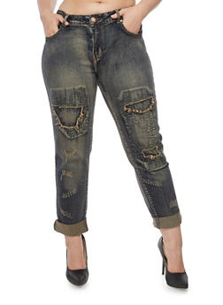 Plus Size Jeans with Distressed Front - 1870065308370
