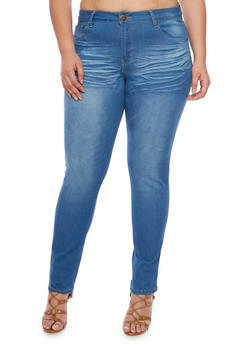 Plus Size VIP Medium Wash Skinny Jeans - 1870065308391