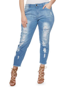 Plus Size VIP Distressed Skinny Jeans with Frayed Hem - 1870065308448