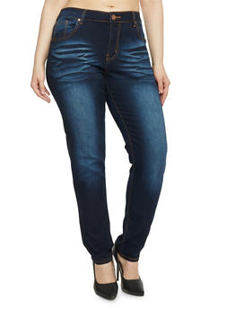 Plus Size Whisker Wash Skinny Jeans - 1870065308649