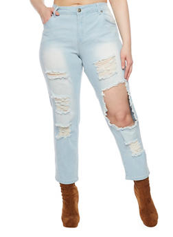 Plus Size Destroyed Faded Cropped Jeans - 1870065308703