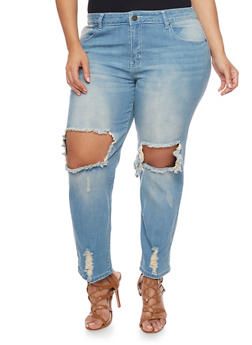 Plus Size VIP Ripped Knee Straight Leg Jeans - 1870065308744