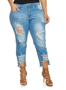 Plus Size VIP Cropped Boyfriend Jeans with Ripped Detail - 1870065308761
