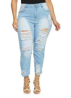 Plus Size VIP High Waisted Destroyed Front Jeans - 1870065308777