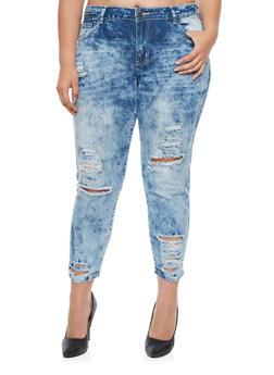 Plus Size VIP Distressed Acid Wash Jeans - 1870065308802