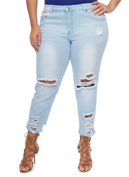 Plus Size VIP Destroyed Skinny Jeans - 1870065308884