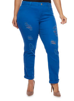 Plus Size Distressed Skinny Jeans - 1870065308919