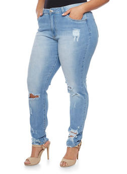 Plus Size Distressed Skinny Jeans - 1870067540399