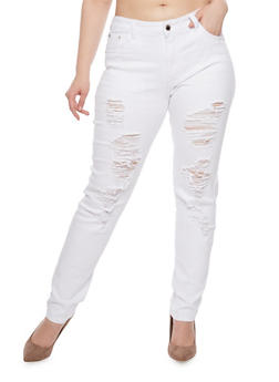 Plus Size Destroyed Skinny Jeans - 1870067548673