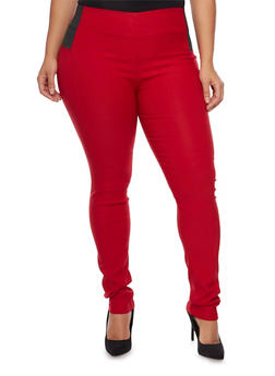 Plus Size Elastic Panel Jeggings - 1870068190536