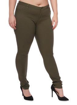 Plus Size Shinestar Stretch Knit Jeans - OLIVE - 1870068196835